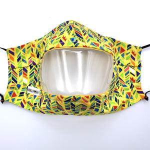 Yellow Technicolor Plait Clear View Face Mask Front View