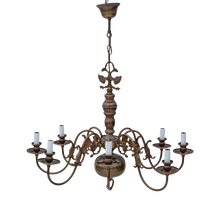 Load image into Gallery viewer, Large Vintage 8 Lamp / Arm Bronze Flemish Chandelier