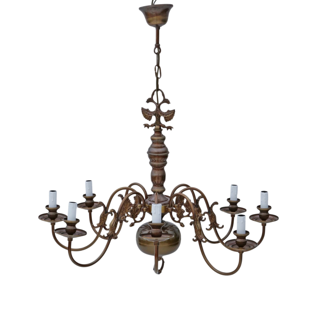 Large Vintage 8 Lamp / Arm Bronze Flemish Chandelier
