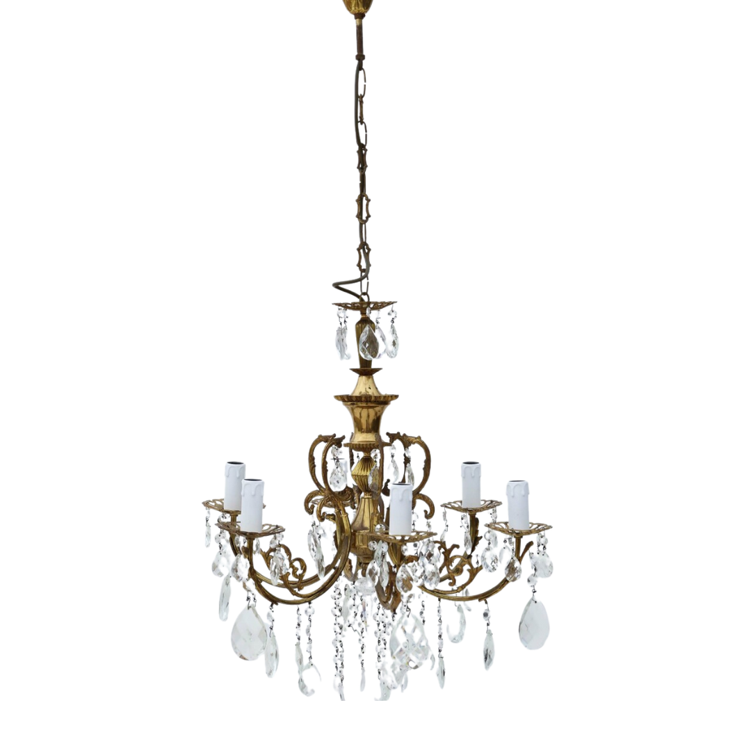 Large Antique Ormolu Brass 6 Arm / Lamp Crystal Chandelier