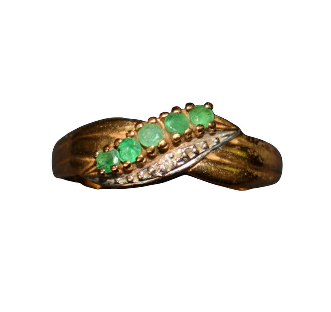 Emerald & Diamond 9ct Gold Ring