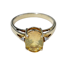 Load image into Gallery viewer, Fire Opal & Diamond 9ct Gold Ring