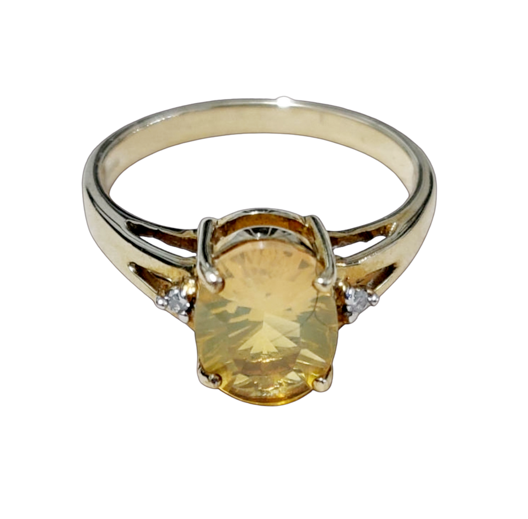 Fire Opal & Diamond 9ct Gold Ring