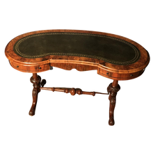 Load image into Gallery viewer, Victorian Burr Walnut Kidney Shaped Desk