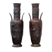 Load image into Gallery viewer, Pair of Late 19th Century Chinese Bronze Champleve Vase