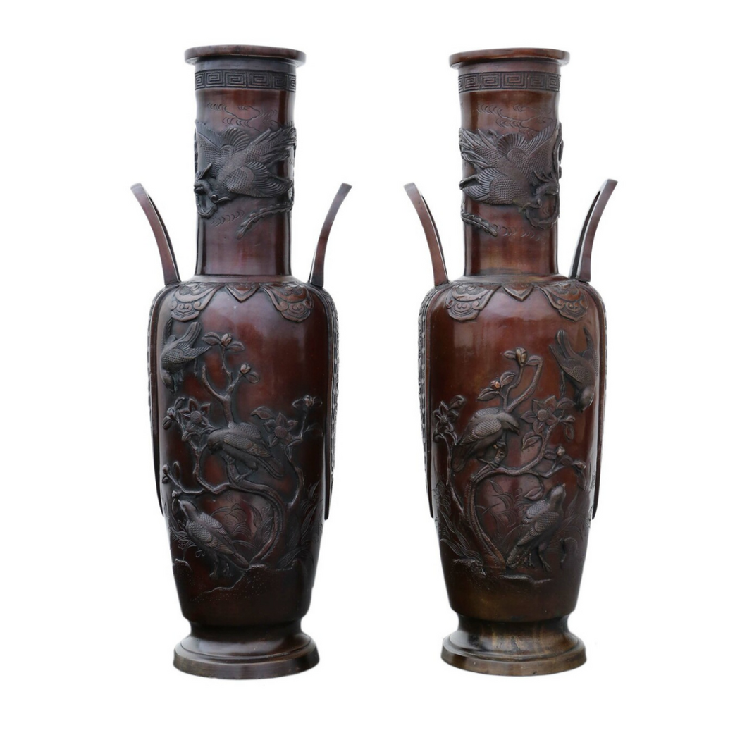 Pair of Late 19th Century Chinese Bronze Champleve Vase