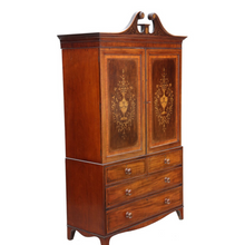 Load image into Gallery viewer, 19th Century Marquetry Linen Press Cupboard by Edwards and Roberts