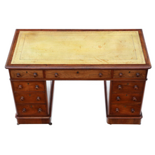 Load image into Gallery viewer, 19th Century Mahogany Desk Twin Pedestal