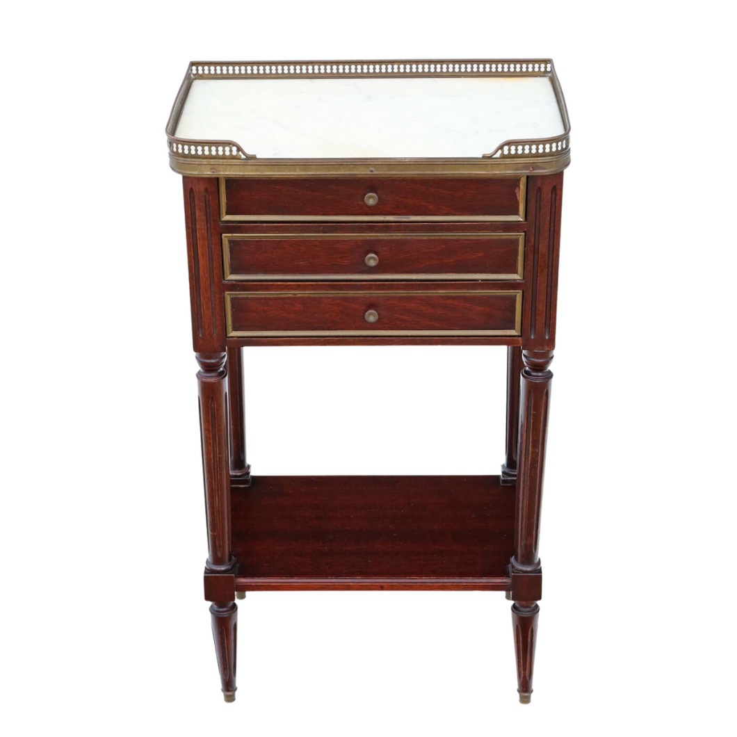 French Mahogany & Marble Bedside Table