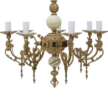 Load image into Gallery viewer, Vintage 6 Lamp / Arm Ormolu Brass Onyx Chandelier