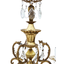 Load image into Gallery viewer, Large Antique Ormolu Brass 6 Arm / Lamp Crystal Chandelier