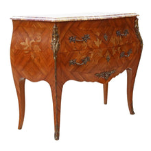 Load image into Gallery viewer, Bombe Marquetry Kingwood Marble Chest of Drawers