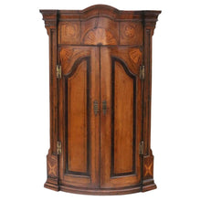 Load image into Gallery viewer, Georgian Inlaid Crossbanded Oak Corner Cupboard Cabinet