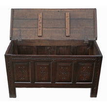 Load image into Gallery viewer, 18th Century Georgian Carved Oak Coffer or Mule Chest