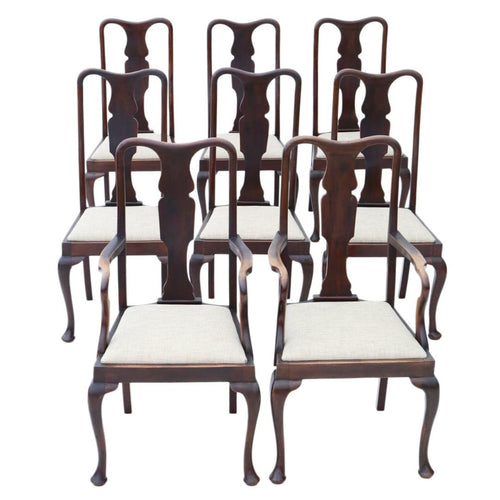 Mahogany Queen Anne Revival Dining Chairs