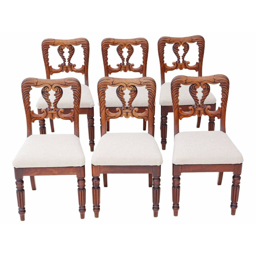 Set of 6 William IV Carved Mahogany Dining Chairs