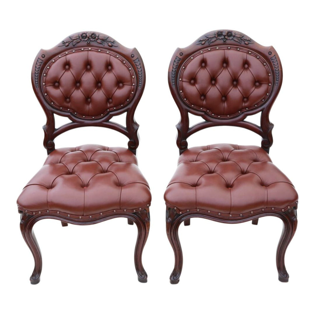 Pair of Victorian Mahogany Hall Side Chairs