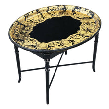 Load image into Gallery viewer, Victorian Decorated Black Lacquer Tray on Stand Coffee Table