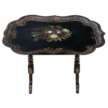 Load image into Gallery viewer, Victorian Tilt Top Decorated Black Lacquer Tray Top Coffee Table