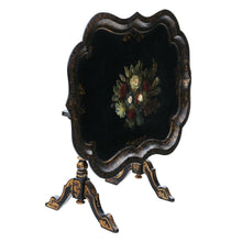 Load image into Gallery viewer, Victorian Tilt Top Decorated Black Lacquer Tray Top Coffee Table c1880