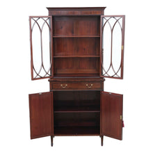 Load image into Gallery viewer, Georgian Revival Mahogany Glazed Bookcase On Cupboard c1890