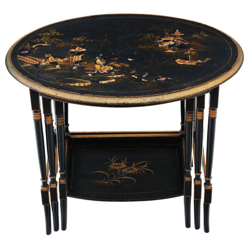 Victorian Oriental Chinoiserie Nest of Decorated Black Lacquer Tables