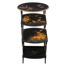 Load image into Gallery viewer, Victorian Oriental Chinoiserie Nest of Decorated Black Lacquer Tables c1895