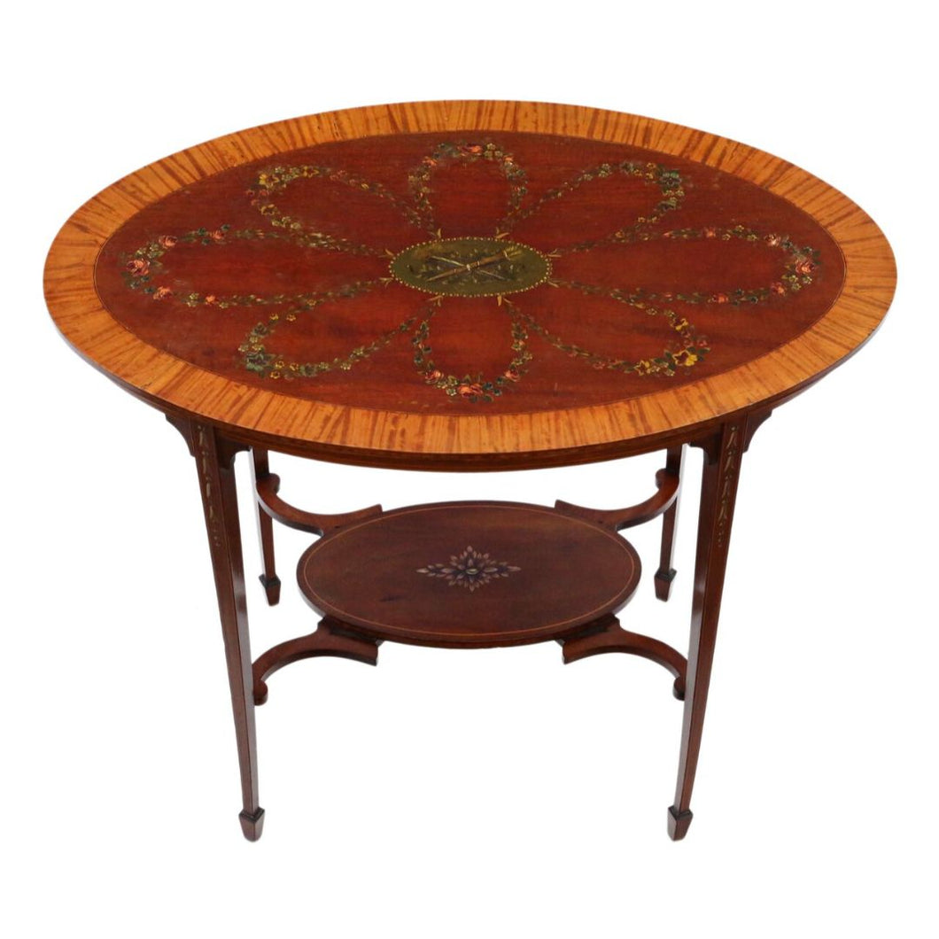 Decorated Satinwood and Mahogany Table