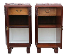 Load image into Gallery viewer, Pair of Art Deco Marquetry Marble Bedside Tables Cabinets