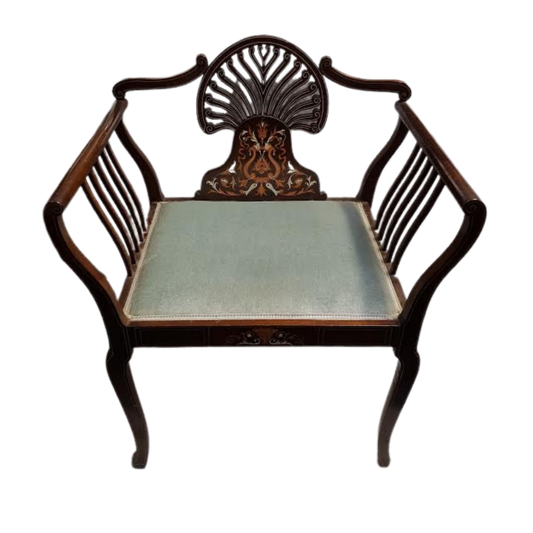 Edwardian Inlaid 'Fan' Arm Chair