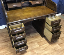 "Load image into Gallery viewer, ""Simpoles Manchester"" Derby Oak Roll Top Desk"