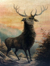 "Load image into Gallery viewer, Pair Antique Oil Paintings Portrait ""Deer Stags Scottish Glen Highlands"""