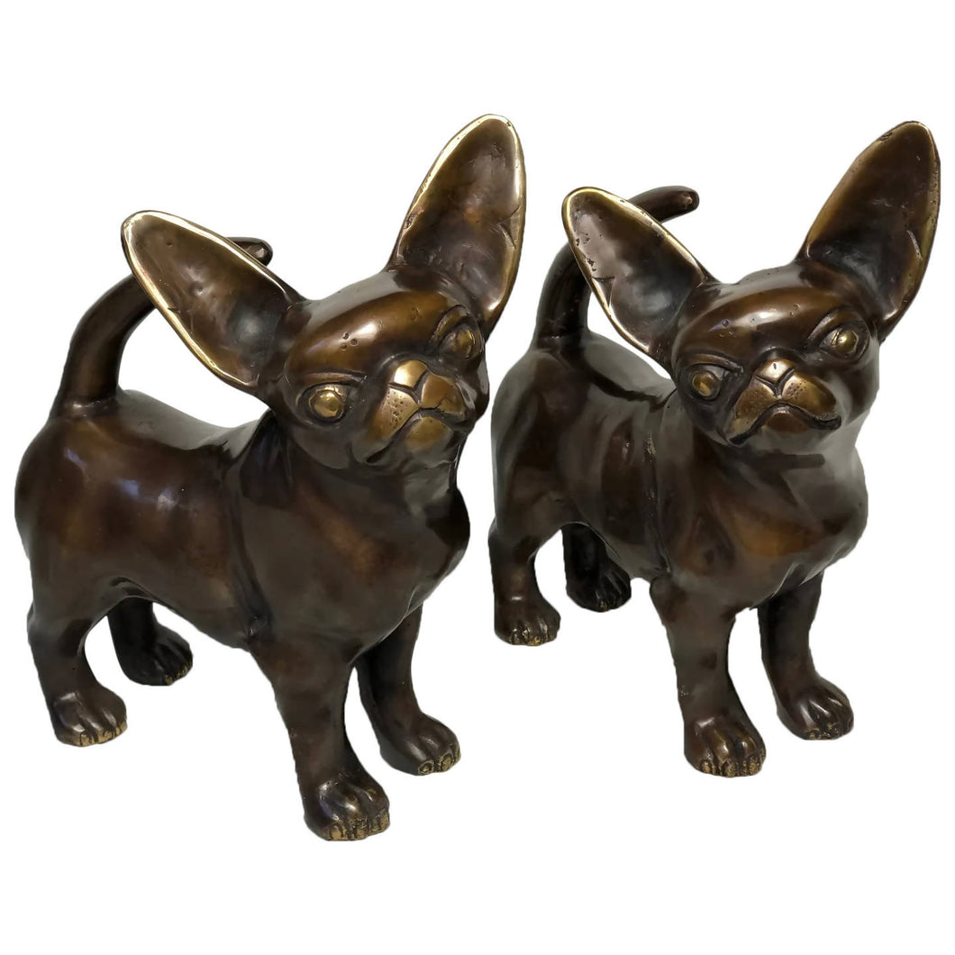 Pair Life Size Bronze Chihuahuas Animal Dog Sculptures