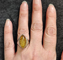 Load image into Gallery viewer, Marquis Shaped Amber Stone Silver Ring