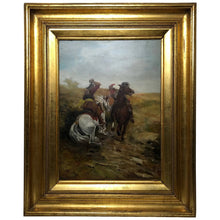 "Load image into Gallery viewer, Victorian Oil Painting Military ""Cavalier & Roundhead On Horseback Sword Skirmish Battle"""