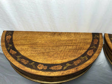 Load image into Gallery viewer, Pair Antique Dutch Demi Lune Tulip Inlaid Marquetry Cherub Console Tables c1910