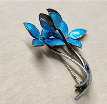 Load image into Gallery viewer, Ivar T Holth Silver Enamel Flower Brooch