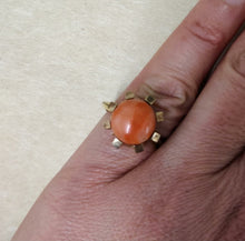 Load image into Gallery viewer, 18ct Yellow Gold Coral Ring