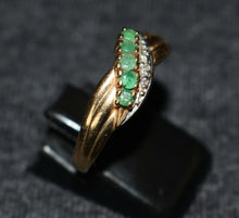 Load image into Gallery viewer, Emerald & Diamond 9ct Gold Ring