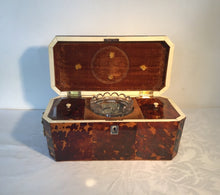 Load image into Gallery viewer, Regency Tortoiseshell tea caddy with glass mixing bowl and lions head handles