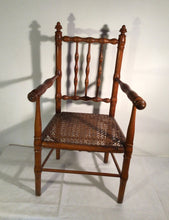 Load image into Gallery viewer, 19th century French fruitwood faux bamboo child's chair with original cane seat