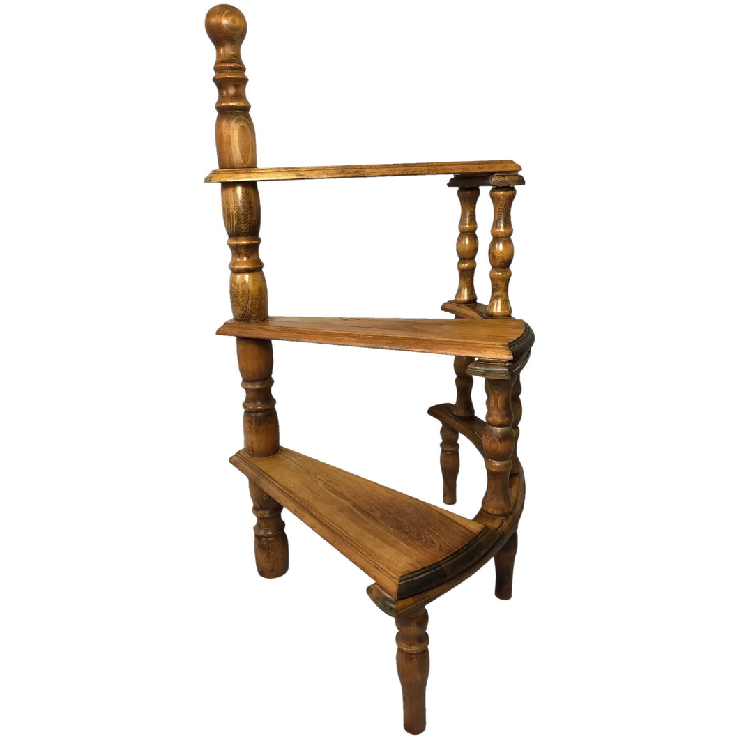 Oak Library Spiral Curved Step Ladder StandOak Library Spiral Curved Step Ladder Stand