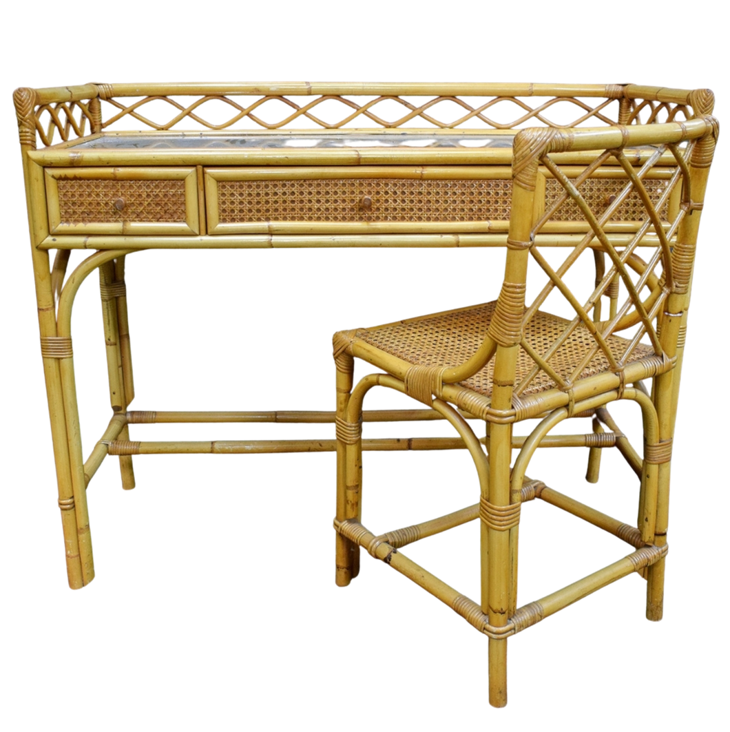 Cane & Bergere Desk & Chair