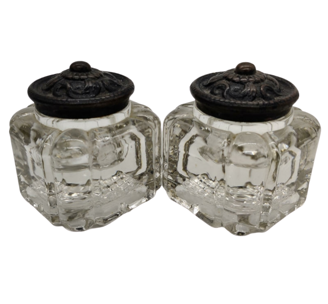 Pair of Heavy Victorian Glass Ink Bottles