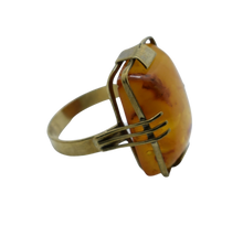 Load image into Gallery viewer, Amber Stone 14ct Yellow Gold Statement Ring