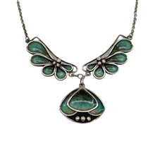 Load image into Gallery viewer, Pat Cheney Silver Enamel Vintage Art Nouveau Necklace