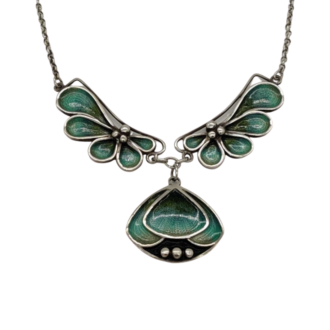 Pat Cheney Silver Enamel Vintage Art Nouveau Necklace
