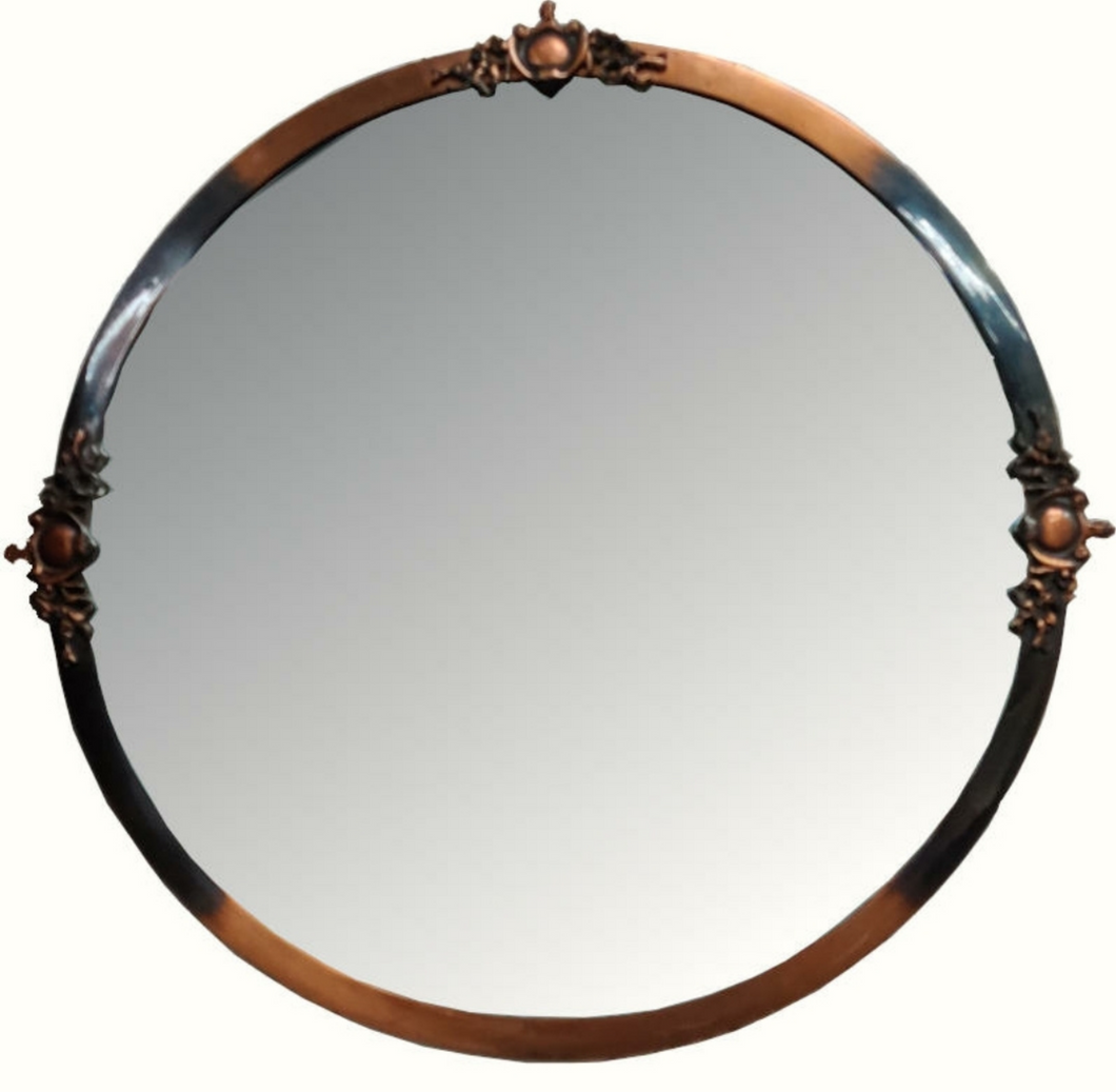 Round Copper Framed Mirror