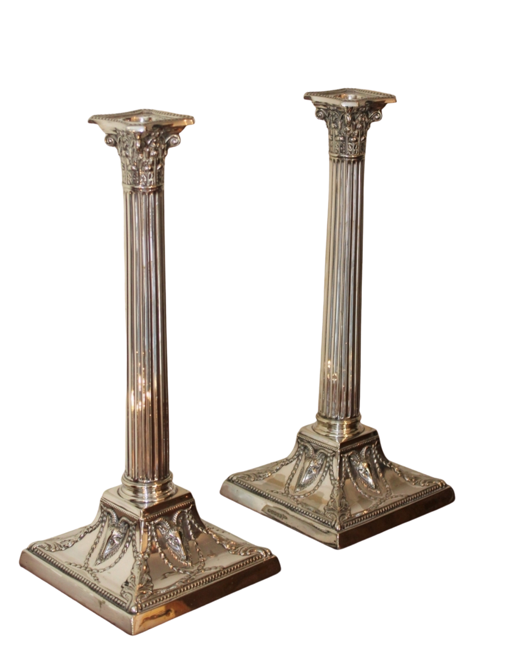 Superb Pair of Fine Victorian Silver-plated Candlesticks crafted by Walker and Hall of Sheffield, England, circa 1893.
