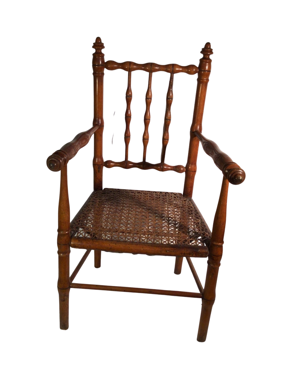 19th century French fruitwood faux bamboo child's chair with original cane seat